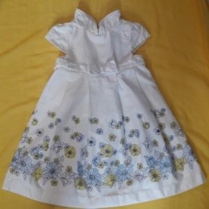 Janie and Jack Baby Girl white floral dress  12-18